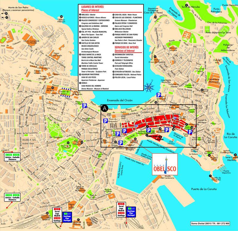 A Coruña Mapa Turistico.Mapa Turistico De La Coruna